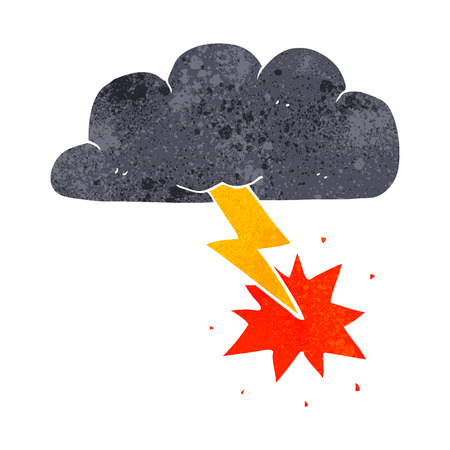 stormcloud: freehand retro cartoon thundercloud