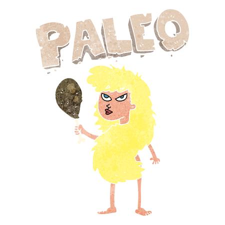 freehand retro cartoon woman on paleo diet Illustration
