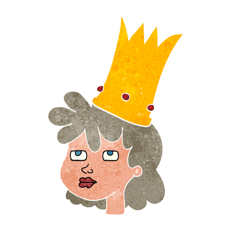 tired cartoon: freehand retro cartoon queen with crown