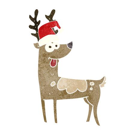 freehand retro cartoon crazy reindeer