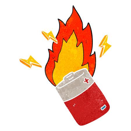 flaming: freehand retro cartoon flaming battery Illustration