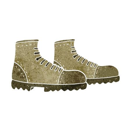 walking boots: freehand retro cartoon walking boots Illustration