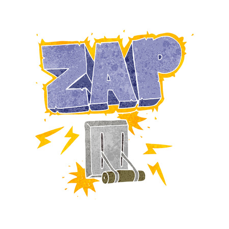 zapping: freehand retro cartoon electrical switch zapping