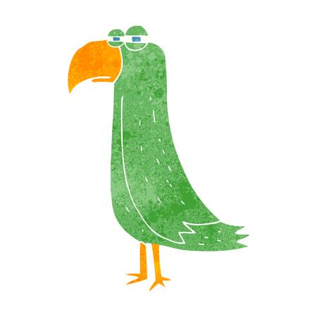 cartoon parrot: freehand retro cartoon parrot