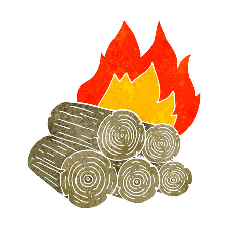 logs: freehand retro cartoon burning logs Illustration