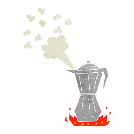stovetop: freehand retro cartoon stovetop espresso maker Illustration
