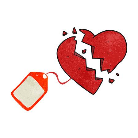 luggage tag: freehand retro cartoon luggage tag on broken heart