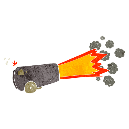 firing: freehand retro cartoon firing cannon Illustration