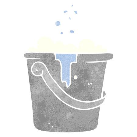 suds: freehand retro cartoon cleaning bucket Illustration