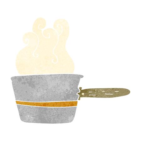 saucepan: freehand retro cartoon saucepan cooking