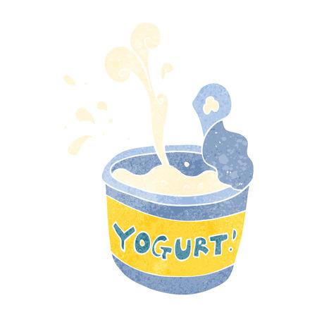 freehand retro cartoon yogurt Illustration