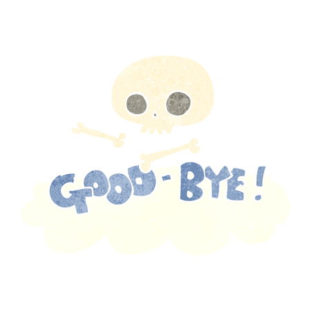 good bye: freehand retro cartoon good-bye symbol Illustration