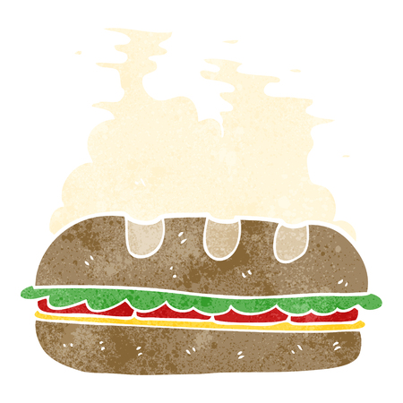 huge: freehand retro cartoon huge sandwich
