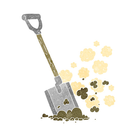 shovel in dirt: freehand retro cartoon shovel in dirt Illustration