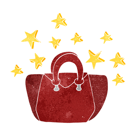 is expensive: freehand retro cartoon expensive handbag Illustration