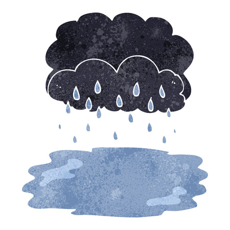 stormcloud: freehand retro cartoon rain cloud