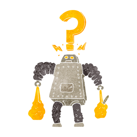 carrying: freehand retro cartoon confused robot carrying shopping Illustration
