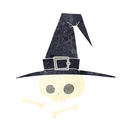 pointy hat: freehand retro cartoon witch hat with skull