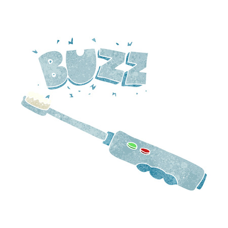 buzzing: freehand retro cartoon buzzing electric toothbrush Illustration