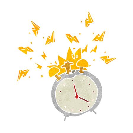 ringing: freehand retro cartoon ringing alarm clock Illustration