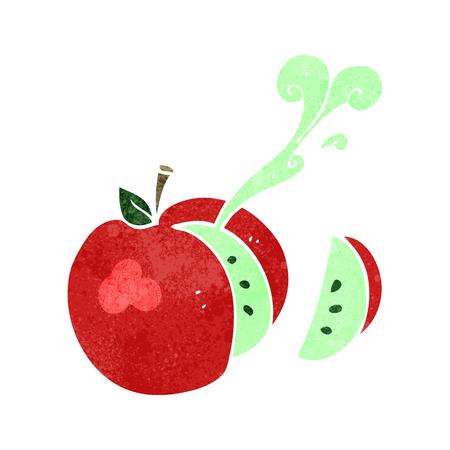 sliced apple: freehand retro cartoon sliced apple