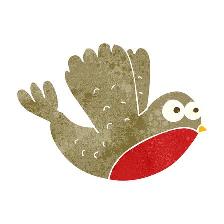 christmas robin: freehand retro cartoon flying christmas robin