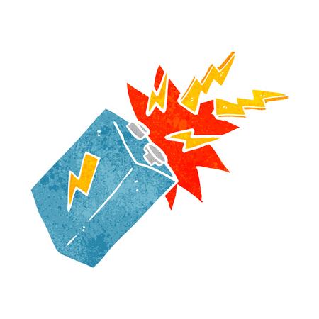 sparking: freehand retro cartoon battery sparking