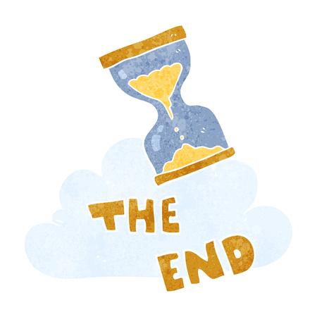 sand timer: freehand retro cartoon sand timer hourglass the end symbol