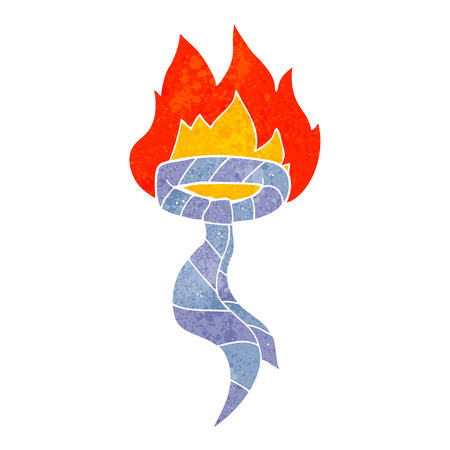 burning: freehand retro cartoon burning work tie Illustration