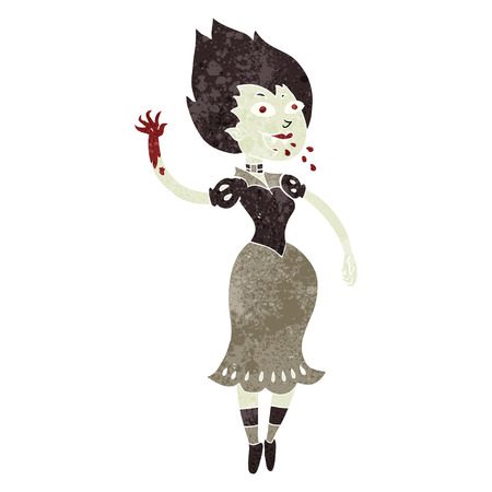 sucking: freehand retro cartoon blood sucking vampire girl Illustration