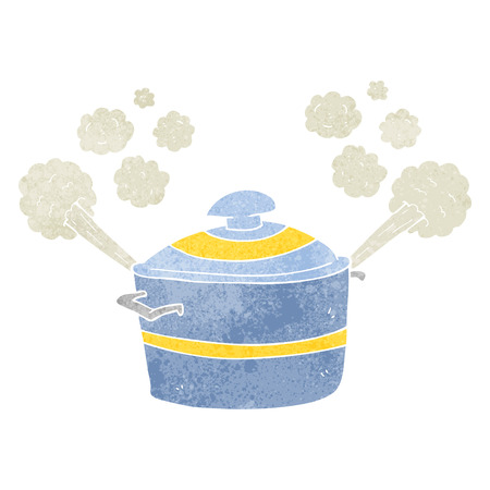 freehand retro cartoon steaming cooking pot Ilustracja