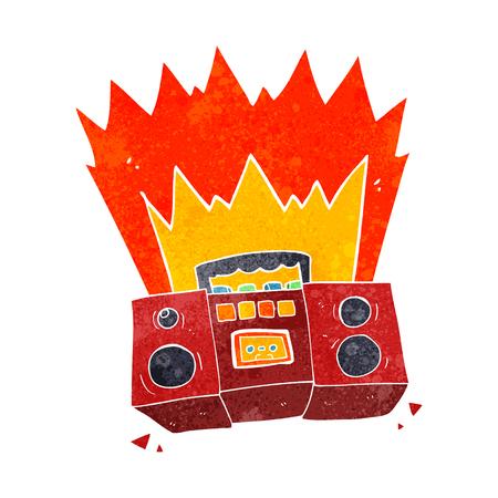 boom box: freehand retro cartoon boom box