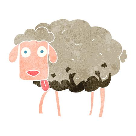 muddy: freehand retro cartoon muddy sheep
