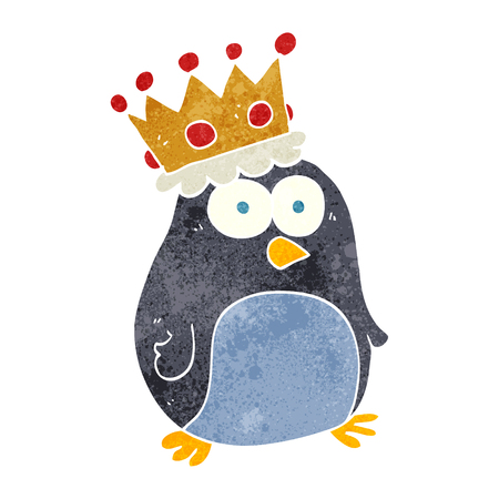 emperor: freehand retro cartoon emperor penguin Illustration