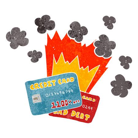 credit card debt: freehand retro cartoon credit card debt