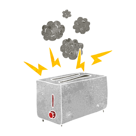 faulty: freehand retro cartoon faulty toaster