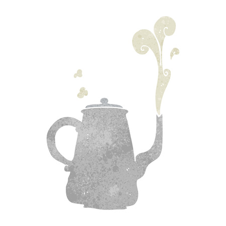 steaming: freehand retro cartoon steaming  coffee pot