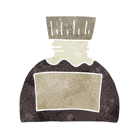 ink pot: freehand retro cartoon ink pot Illustration