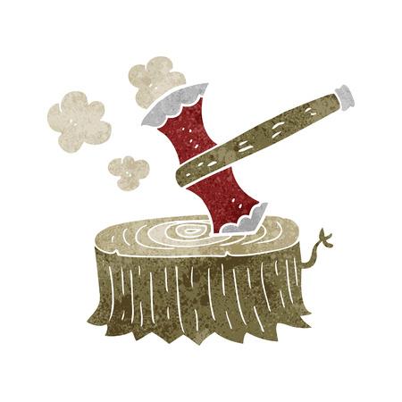 tree stump: freehand retro cartoon tree stump and axe