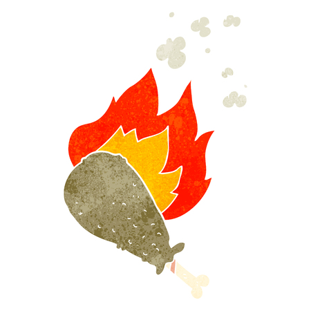 cooked: freehand retro cartoon cooked chicken leg Illustration