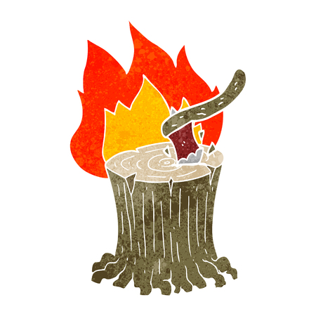 flaming: freehand retro cartoon axe in a flaming tree stump