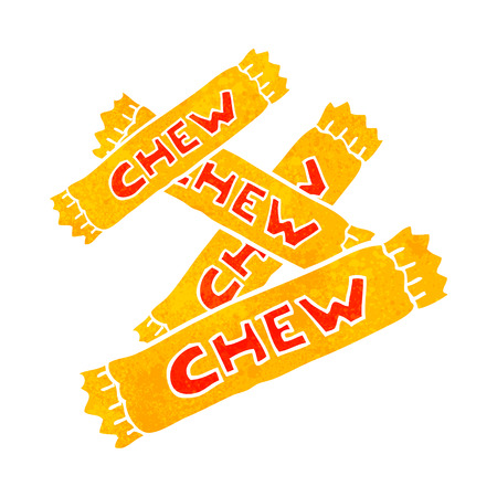 chew: freehand retro cartoon chew candy