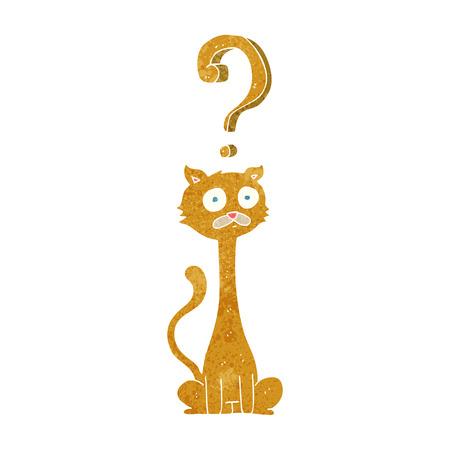 curious: freehand retro cartoon curious cat
