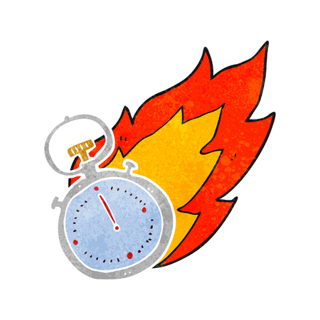 flaming: freehand retro cartoon flaming stop watch Illustration