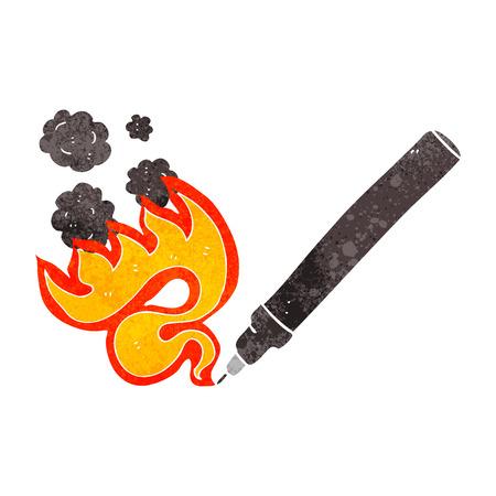 flaming: freehand drawn retro cartoon flaming pen