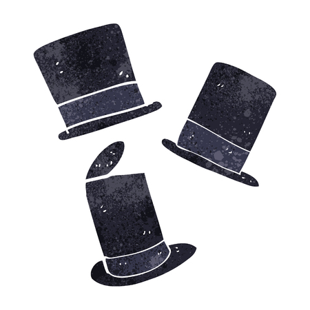top: freehand retro cartoon top hats