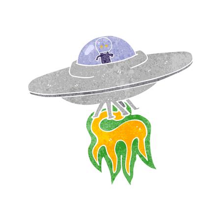 aliens: freehand retro cartoon alien flying saucer Illustration