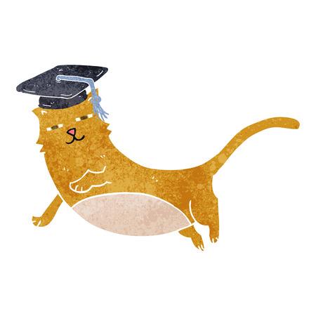 大学院キャップ フリーハンド描画レトロ漫画