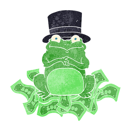 scheming: freehand retro cartoon rich frog in top hat