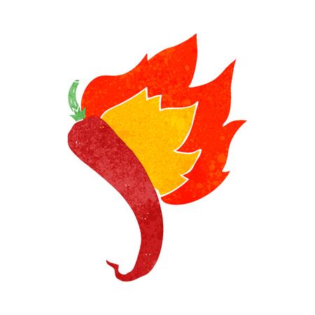 flaming: freehand drawn retro cartoon flaming hot chilli pepper